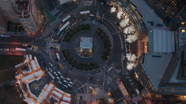 Aerial Shot Of Columbus Circle With Cars Driving Around It NYC