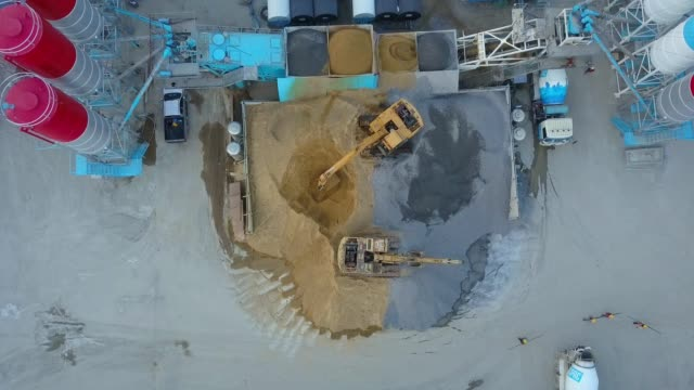 Aerial shot of Concrete batching plant with concrete truck, Excavator and  in construction site