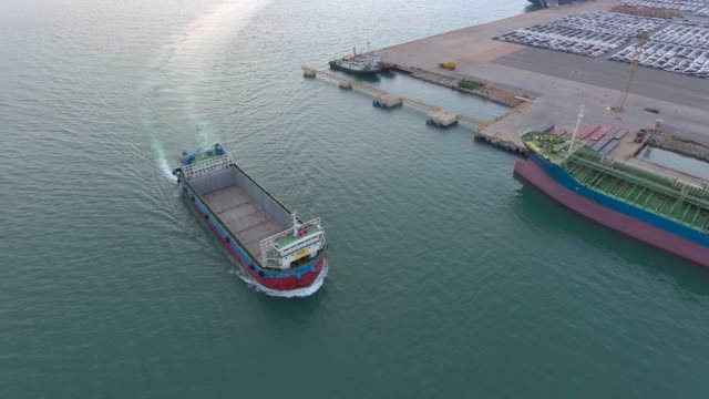 Aerial shot of container ship at peir