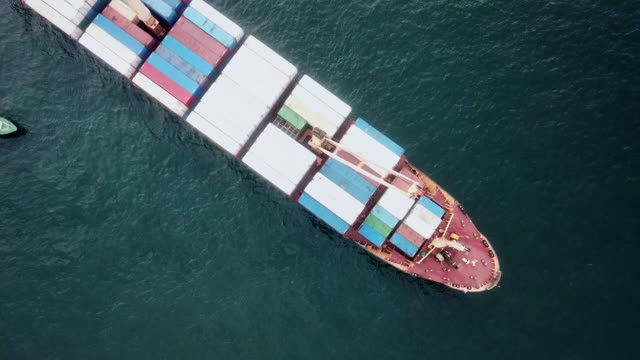 Aerial shot of container ship