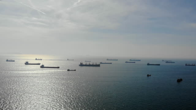 Aerial shot of container ships in Istanbul