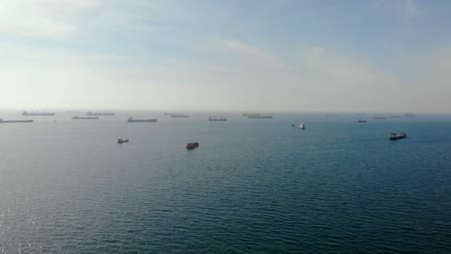aerial shot of container ships in istanbul - ozgurdonmaz stock videos and b-roll footage