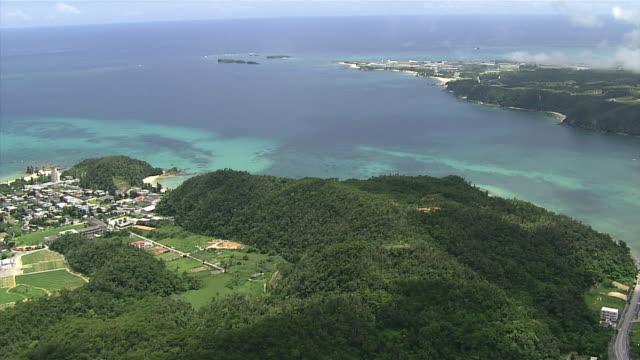 Aerial shot of coral reefs in Oura Bay