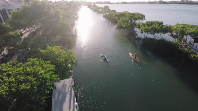 Aerial Shot of couple Kayaking