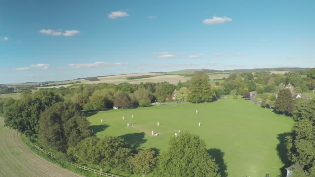 Aerial shot of cricket match on the South Downs