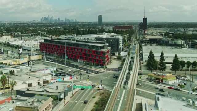 aerial shot of culver city metro station, california - culver city stock videos & royalty-free footage