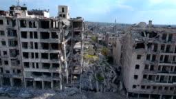 Aerial shot of demolished city building