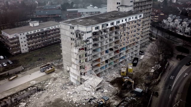 aerial shot of demolished concrete buidling - ruined stock videos & royalty-free footage