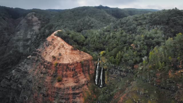 vidéos et rushes de aerial shot of dense forest and waipoo falls descending from the cliff.in waimea canyon, kauai, hawaii - kauai