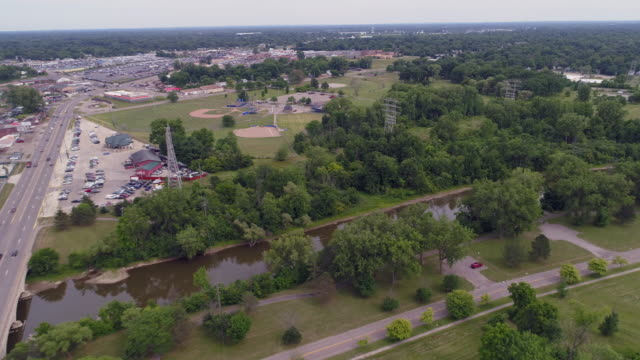 aerial shot of dirty river in flint, michigan - michigan stock videos & royalty-free footage
