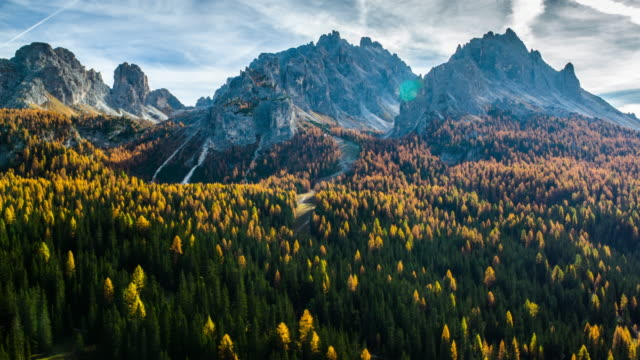 aerial shot of dolomites mountain range at autumn time, south tyrol italy - summit stock videos & royalty-free footage
