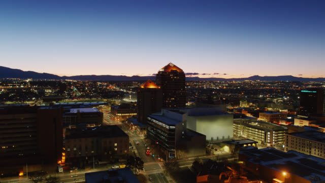 aerial shot of downtown albuquerque just before sunrise - albuquerque new mexico stock videos & royalty-free footage