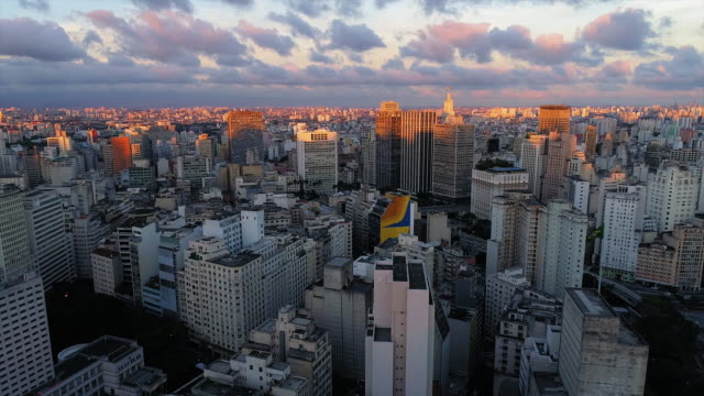 aerial shot of downtown, at sunset, sao paulo, brazil - downtown stock videos & royalty-free footage