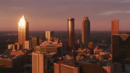 Aerial shot of downtown Atlanta at sunset.