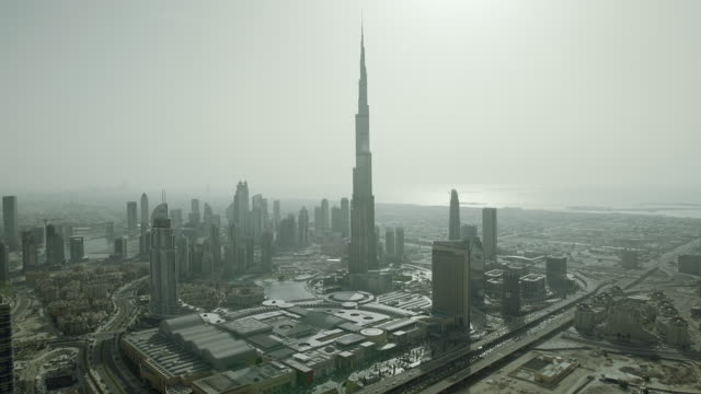 Aerial shot of Downtown Dubai with the Burj Khalifa skyscraper, currently the tallest in the world.