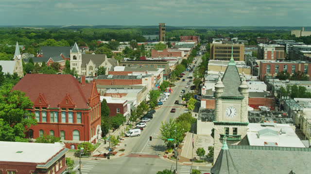 aerial shot of downtown lawrence, kansas - kansas stock videos & royalty-free footage