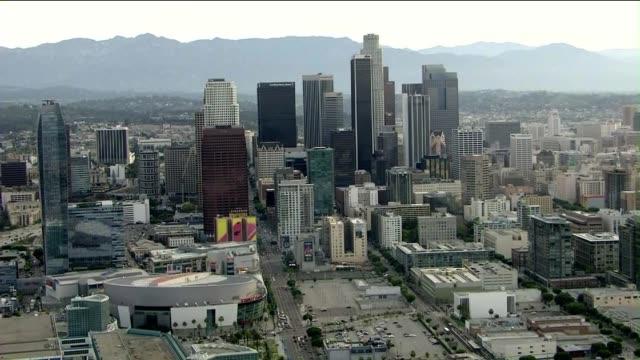 Aerial Shot of Downtown Los Angeles Buildings