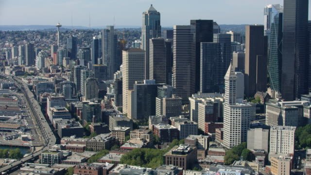aerial shot of downtown seattle - smith tower stock videos & royalty-free footage