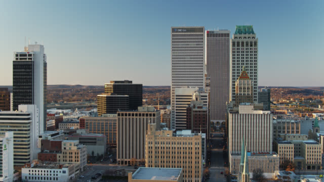 aerial shot of downtown tulsa at sunset - tower stock videos & royalty-free footage