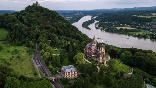 aerial shot of drachenburg and drachenfels castle,  germany - river rhine stock videos & royalty-free footage