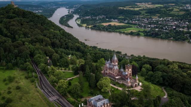aerial shot of drachenburg castle in the siebengebirge , germany - river rhine stock videos and b-roll footage