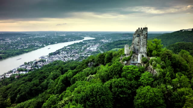 aerial shot of drachenfels and rhine river in germany - germany stock videos & royalty-free footage