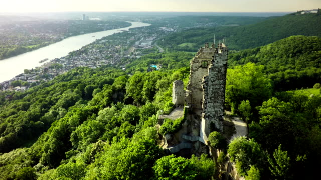 aerial shot of drachenfels castle and rhine river , germany - river rhine stock videos & royalty-free footage