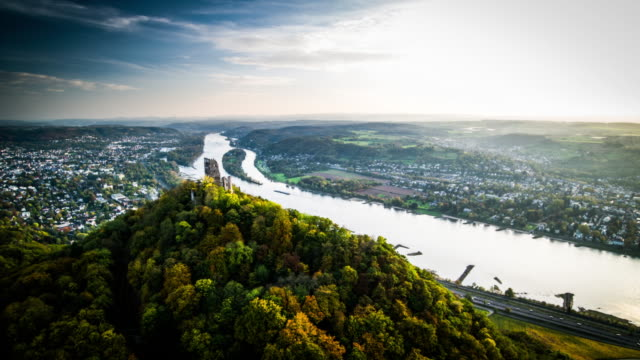 aerial shot of drachenfels castle and rhine river , germany - valley stock videos & royalty-free footage