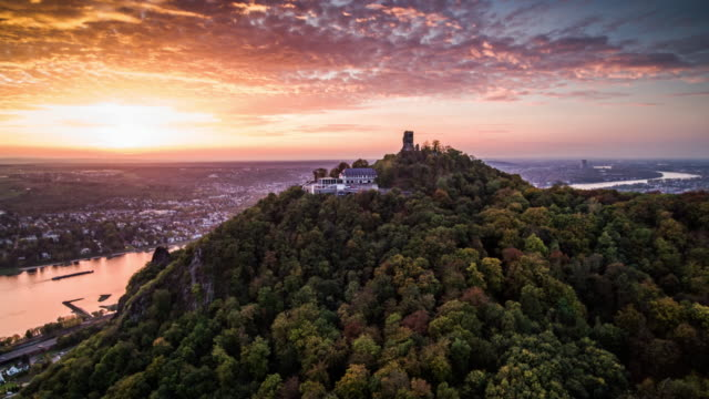 Aerial shot of Drachenfels Castle at Sunset, Germany