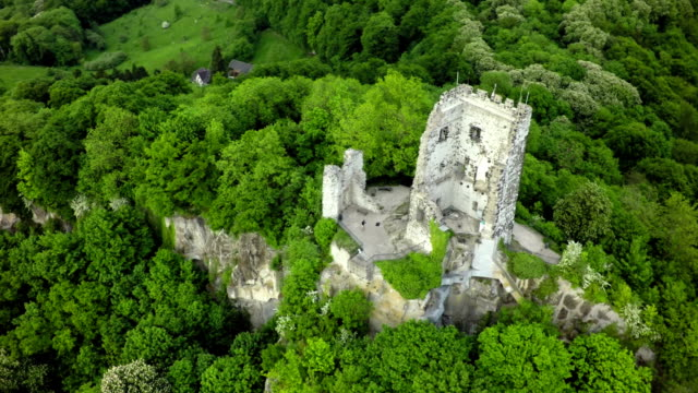 aerial shot of drachenfels castle, germany - fort stock videos & royalty-free footage