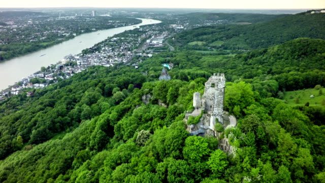 aerial shot of drachenfels in siebengebirge mountains , germany - fortress stock videos & royalty-free footage