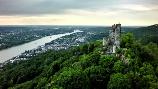 aerial shot of drachenfels with castle and rhine river - river rhine stock videos & royalty-free footage