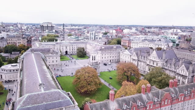 aerial shot of dublin, ireland's trinity college - trinity college cambridge university stock videos & royalty-free footage