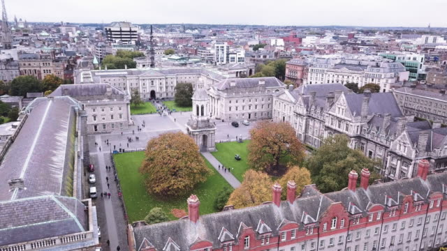 aerial shot of dublin, ireland's trinity college - cambridge university stock videos and b-roll footage