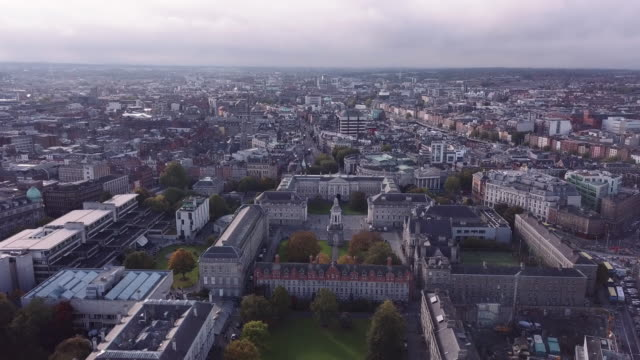 aerial shot of dublin's trinity college - trinity college cambridge university stock videos & royalty-free footage