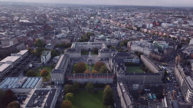 Aerial shot of Dublin's Trinity College