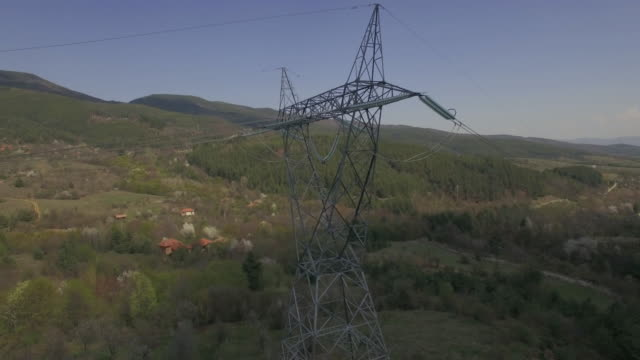 Aerial Shot Of Electricity Pylons