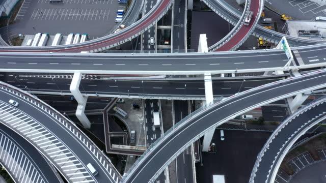 vidéos et rushes de photo aérienne de route élevée - échangeur