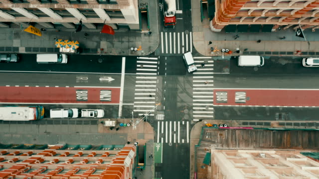 aerial shot of empty streets in soho, new york city. - urban road stock videos & royalty-free footage