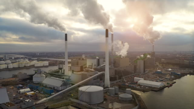 aerial shot of energy plant - water pollution stock videos & royalty-free footage