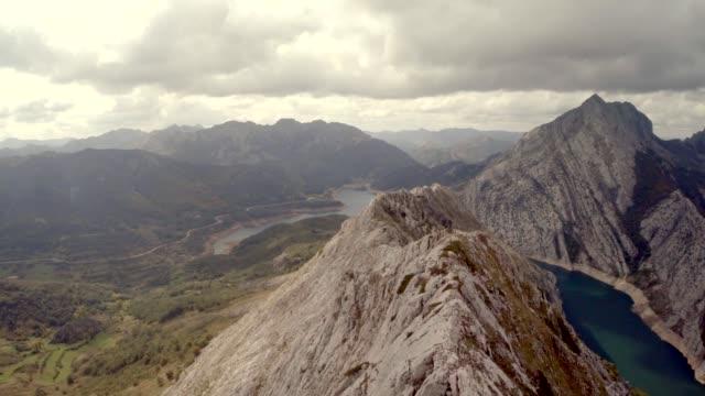 Aerial shot of European Mountain peak