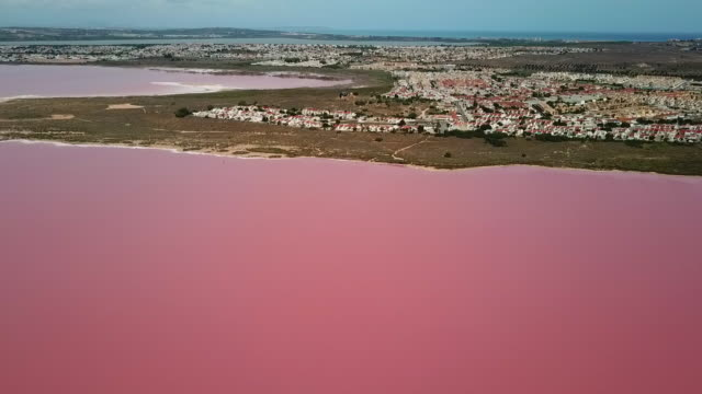 vídeos de stock e filmes b-roll de aerial shot of famous pink lake by city against sky on sunny day, drone flying forward towards houses - torrevieja, spain - alicante