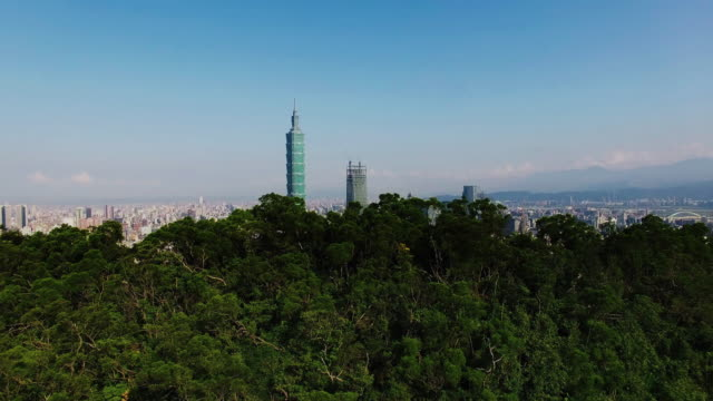 Aerial shot of financial district in City Taipei at dawn, Taiwan