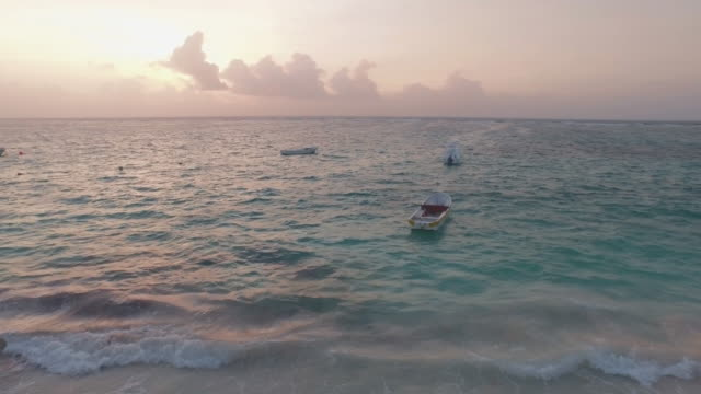 aerial shot of fishing boats in ocean - mayan riviera stock videos & royalty-free footage