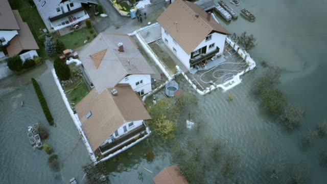 aerial shot of flooded area - flood stock videos & royalty-free footage