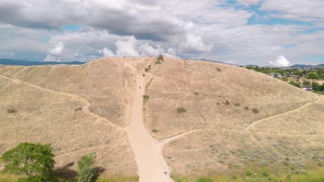 Aerial shot of foothills in Camels Back Park revealing skyline