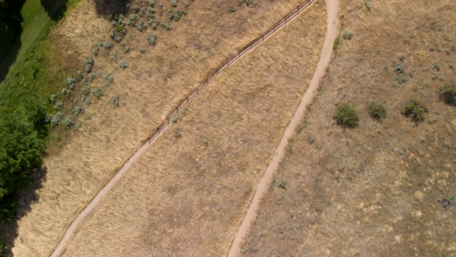 Aerial shot of foothills, trails and hikers