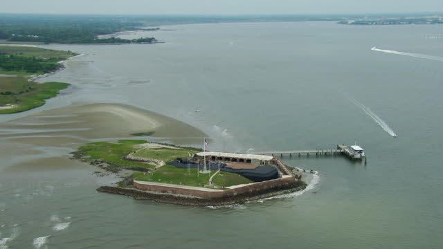 aerial shot of fort sumter charleston - fortress stock videos & royalty-free footage