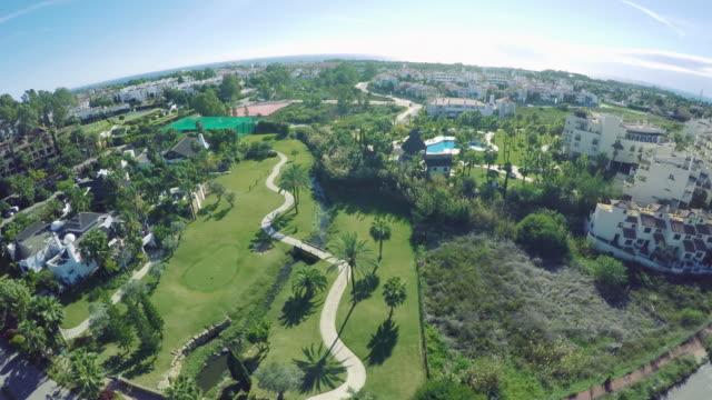 Aerial shot of golf field costa del sol