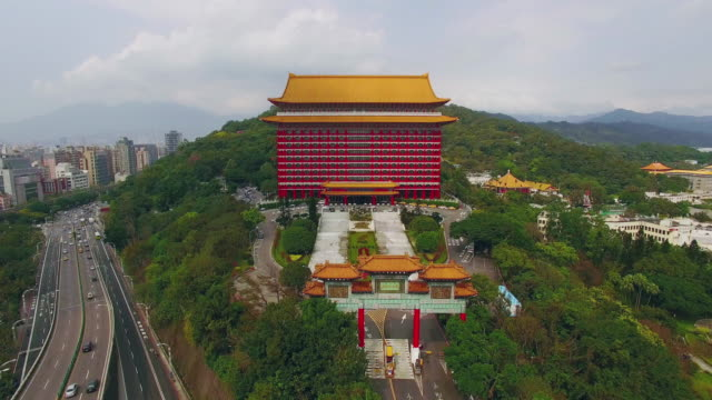 aerial shot of grand hotel in taipei, taiwan - taipei stock videos & royalty-free footage